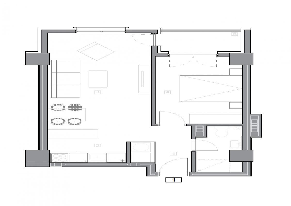 Зграда 55, кат 1, стан 1